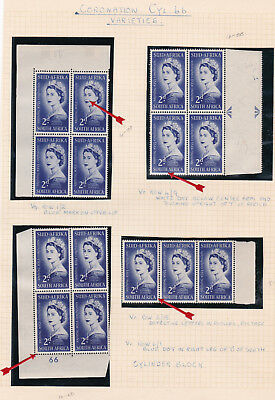 South Africa. Queen Elizabeth II Coronation Study with Varieties. Four Pages.