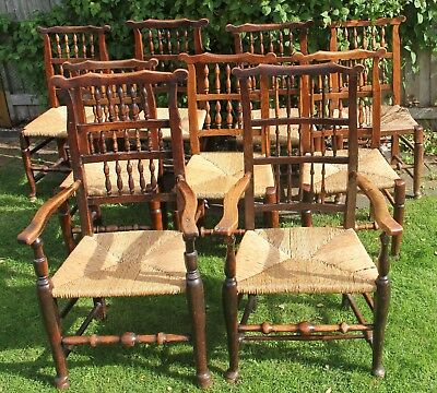 9 Antique dining chairs, spindle back, rush seat, solid ash & elm with 'ears'