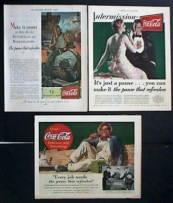 Coke Ads from 1930,1931, and 1937, original vintage