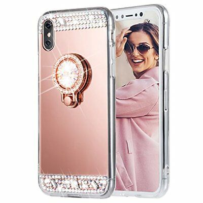 Bling Diamond Crystal Ring Holder Kickstand Mirror Case Cover For iPhone X 8 7 6