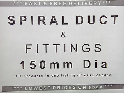Spiral ducting & fittings 150mm dia, ventilation, extractor fan, hydroponics