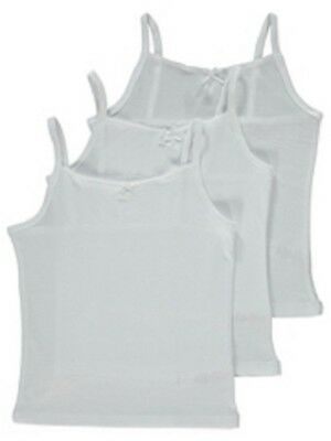 Girls Camisole Vest - White - 100% Cotton - Multipack Pack (X3) Age 5-6-7-8-9-10