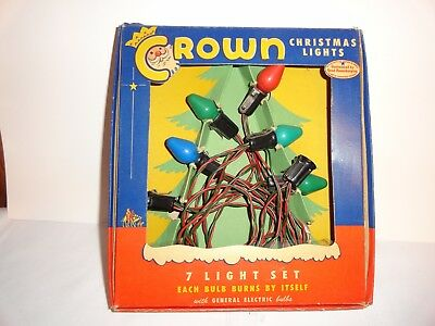 Vintage Box Of Crown Christmas Lights~Working Condition~Great Graphics On Box