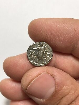 Ancient Indo-  Greek Silver Coin Drachm Antimachos Ii 1.9 Gr 16 Mm