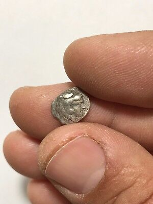 Ancient Greek Silver Coin Obol Head Of Hercules Lion 0.8 Gr 12 Mm