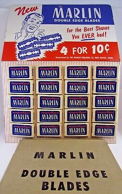 MARLIN Razor Blades Vintage Store Display Advertising Card New Old Stock w/ Box!