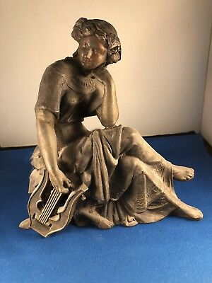 "Antique Spelter Clock Topper Statue - Classical Lady - ""Music"" - ca. 1895"