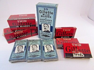 Large Lot of NOS Gillette Thin & Blue Razor Blades! 9X Sealed Boxes + Dispenser