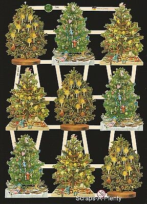 Die Cut Scrap German Vintage Style Embossed - Decorated Christmas Trees  EF7396