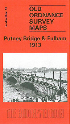 Old Ordnance Survey Map Putney Bridge Fulham 1913 Reporton Road Hotham Road