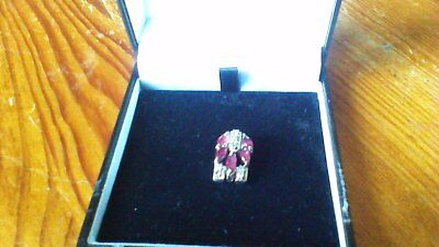Silver 925 created Ruby & clear stone clean v.g condition