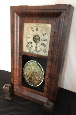 "Antique 29.5"" Seth Thomas Weight Driven 8 Day Wood Clock Reverse Paint & Key"