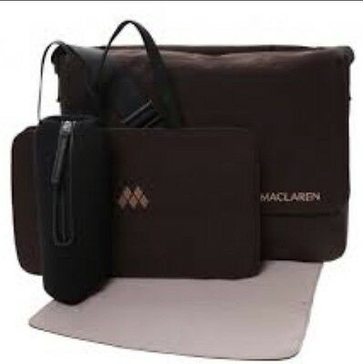 Maclaren Messenger Nappy Baby Bag -Changing Mat -Insulated Bottle  & Wet Bag New