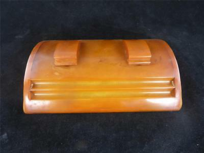 Art Deco Carvacraft Catalin Amber Bakelite Double Inkwell Desk Stand