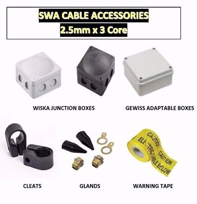 2.5Mm 3 Core Swa Cable Accessories,  Glands,  Cleats, Adapt / Wiska Ip65 Boxes