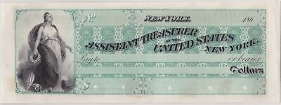 ASSISTANT TREASURER OF THE UNITED STATES NEW YORK PROOF CHECK 1860s NBNC