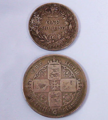 2 Piece Lot 1855 One Shilling 1859 Florin British Silver Coin