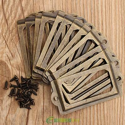12x Antique Brass Iron Drawer Label Pull Frame Handle Business Name Card Holder