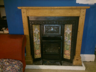 Cast Iron Fireplace With Victorian Designed Tiles Mantlepiece Surround Grate