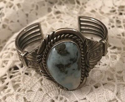 Large Native American Sterling Silver Sodalite Cuff 57grams, By Steakley