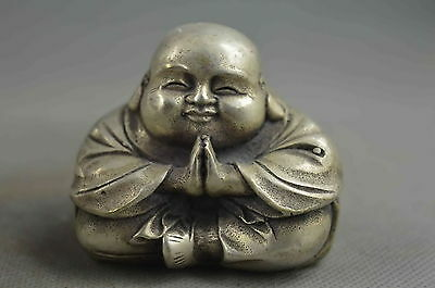 Collectible Handwork Decor Old Miao Silver Carve Gracious Buddha Lucky Statue