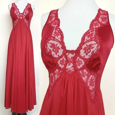Sz Med- Large Vintage Olga Nylon Lace Bodice Nightgown Dress 9297 Red T1