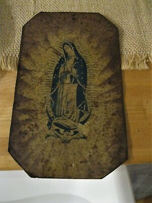 Antique Original Retablo On Tin With Our Lady Of Guadalupe Nice Piece