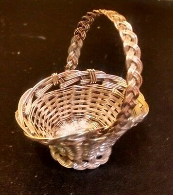 An Exquisite Miniature Solid Silver Wirework Basket Dolls House Silver Basket