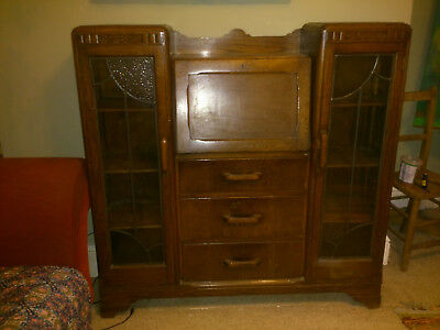 Vintage Antique Wooden Writing Desk Bereau Display Cabinet Drawers Stained Glass