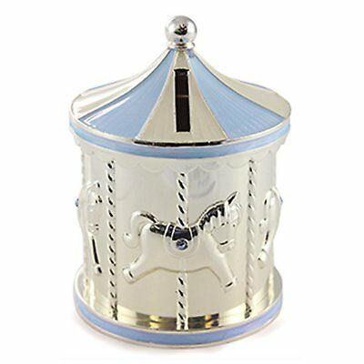 New - Silver Plated Carousel Money Box Rocking Horse, Blue Crystals, Not A Toy