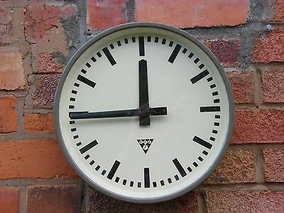 Czech Pragotron Industrial Metal Station Factory Office Wall Clock- Not Working