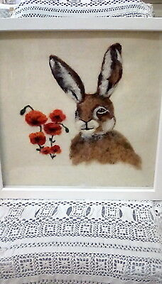 Needle Felted Hare and Poppies Picture with Wooden Frame