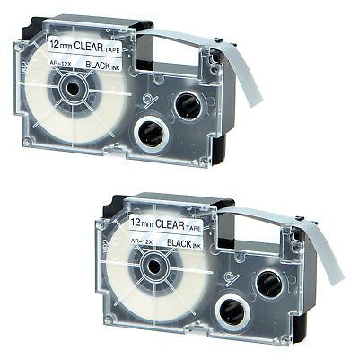 2 PK Compatible for Casio XR-12X Black on Clear 12mm Label Tape KL-60SR XR-12X1