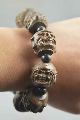 Collectible Handwork Decor Old Alabaster Carve Ancient Buddha Happiness Bracelet