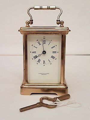 Hamilton & Inches Brass Carriage 8-day Clock + Key Made in France 11 Jewels