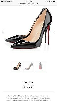d079ca33d574 100% Auth Christian Louboutin So Kate 120 Patent Leather Black Pumps Heels  37