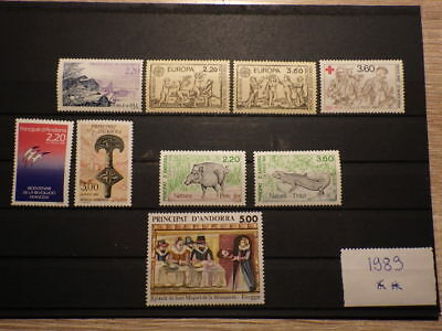 9x Timbres Stamps ANDORRE Français ANDORRA Neufs ANNEE 1989 Complete ** MNH
