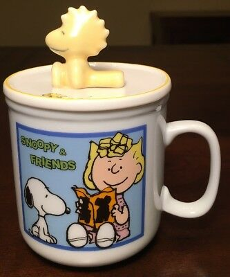 Snoopy & Sally tea Coffee Mug w/ Lid Woodstock Peanuts