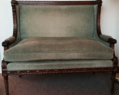 "Antique Louis XVI settee, celadon green, hand-carved walnut frame, 47""w x 42""h"