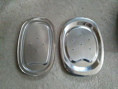 Vintage  VINERS Spiked Stainless Steel Carving Plate plus another by Colac