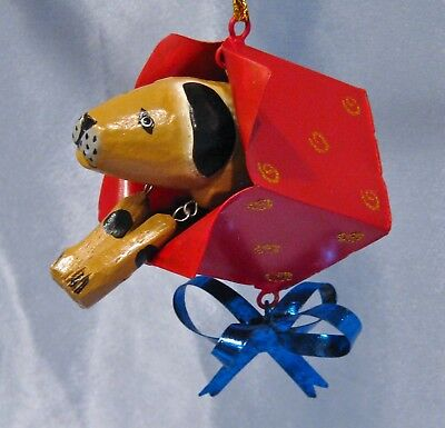 Wooden Dog in a Gift Box Christmas Ornament New