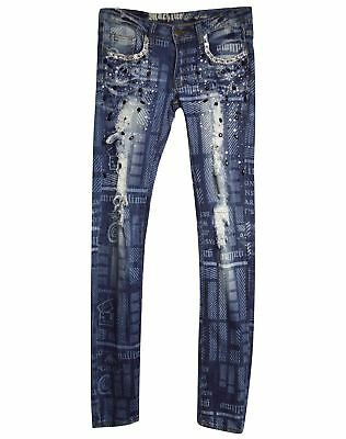 New Machine Jeans Juniors Skinny Print Destroyed Denim Pants Low-Rise Size 0-13
