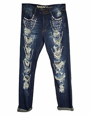 New Machine Jeans Juniors Boyfriend Fit Destroyed Dark Denim Pants Size 0-13