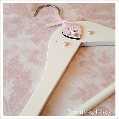 ♡♡ White baby Girl wooden keepsake hanger. Add name and date of birth ♡♡