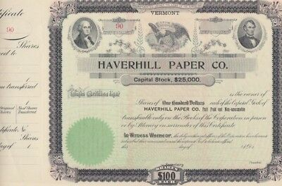 Haverhill Paper Company Stock Certificate, Incorporated in Vermont