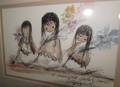 """A midnight sketch 5 A.M"" Signed by Ted De grazia! '3 Little ones'"