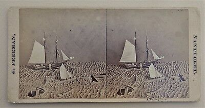 Albumen Whaling Nantucket Stereoview Diorama For Exhibition By Freeman