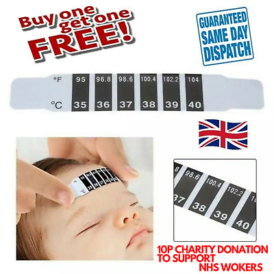 🤕 2 X Kids Child Baby Forehead Strip Head Thermometer Fever Temperature Bulk