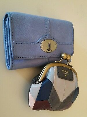 Fossil Lot Of 2 Ligth Blue Leather Wallet & Multicolor Leather Coin Purse