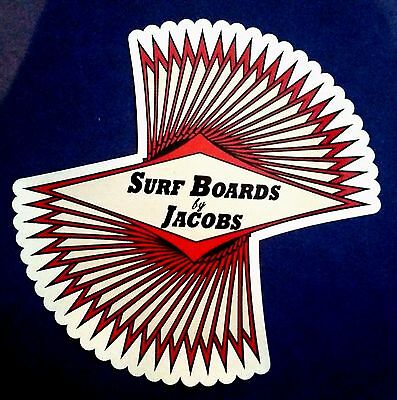 SURF BOARDS BY JACOBS Surfboard Manufacturer 1970's Sticker Decal MALIBU Surfing